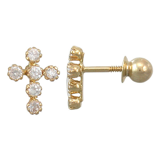 Girls 14K Gold Cubic Zirconia Mini Cross Earrings