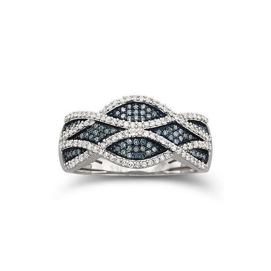 3/8 CT. T.W. Blue & White Diamond Ring