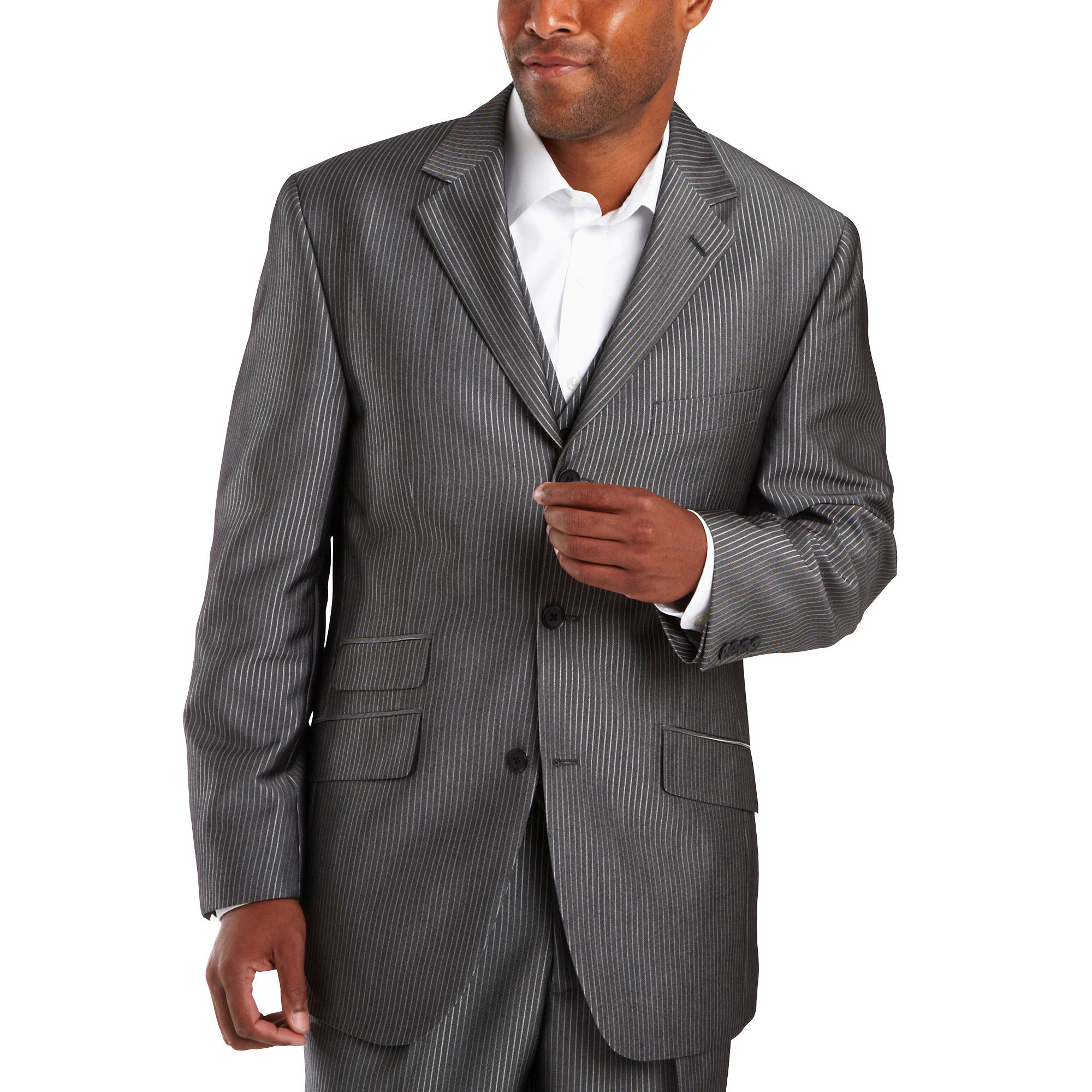 Steve Harvey 3-Button Black Stripe Suit Jacket - Big & Tall plus size,  plus size fashion plus size appare