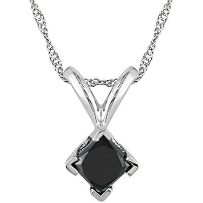 1/2 CT. T.W. Princess-Cut Color-Treated Black Diamond Pendant Necklace