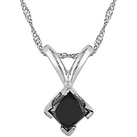 1/2 CT. T.W. Princess-Cut Color-Treated Black Diamond Pendant Necklace
