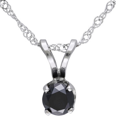 1/3 CT. T.W. Round Color-Enhanced Black Diamond Pendant Necklace
