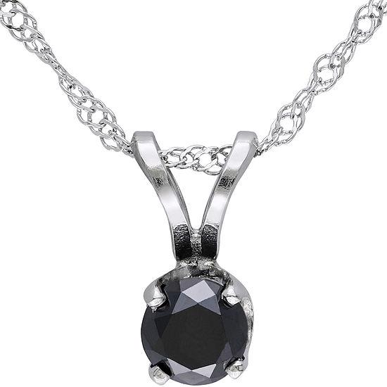 1/3 CT. T.W. Round Color-Enhanced Black Diamond Pendant Necklace