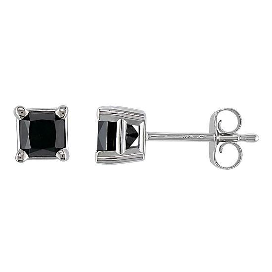 3/4 CT. T.W. Princess-Cut Color-Treated Black Diamond Stud Earrings
