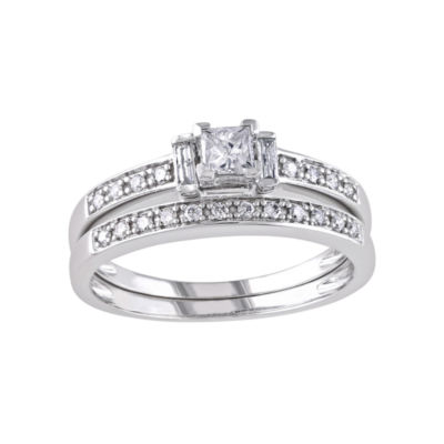 1/2 CT. T.W. Princess & Round Diamond Bridal Ring Set