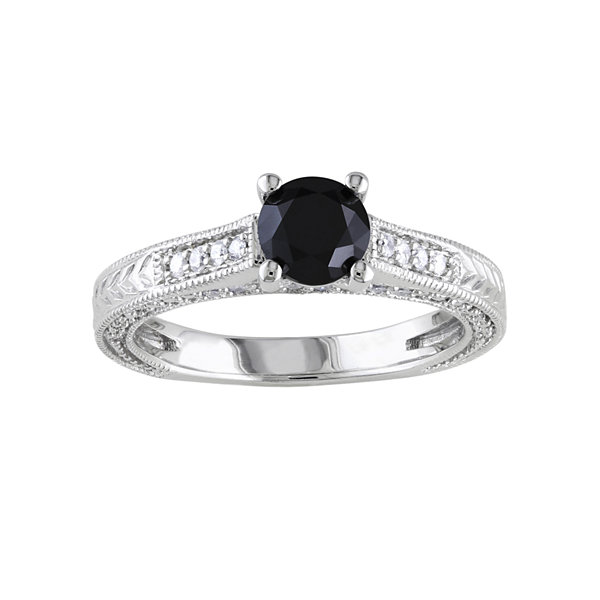 1 1/6 CT. T.W. White & Color-Treated Black Diamond Engagement Ring