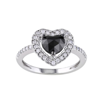 1 CT. T.W. White & Color-Treated Black Diamond Heart Engagement Ring