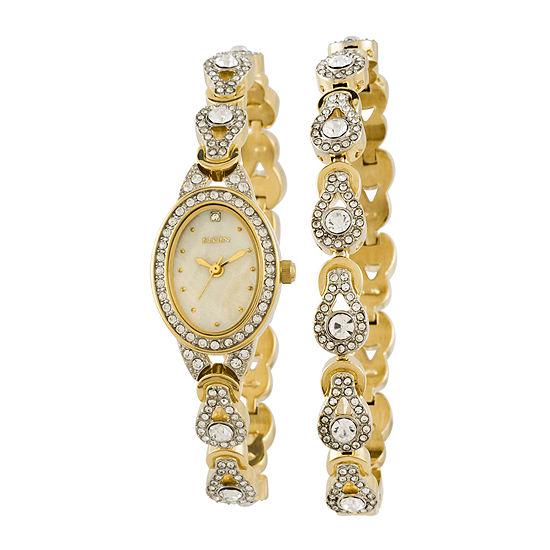 Elgin® Womens Crystal Watch and Bracelet