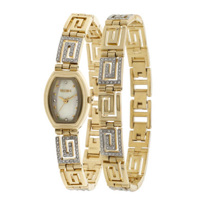 Elgin® Womens Greek Key Crystal Watch and Bracelet