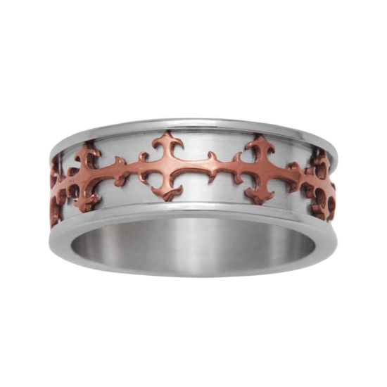 Mens Stainless Steel & Brown IP Cross Ring