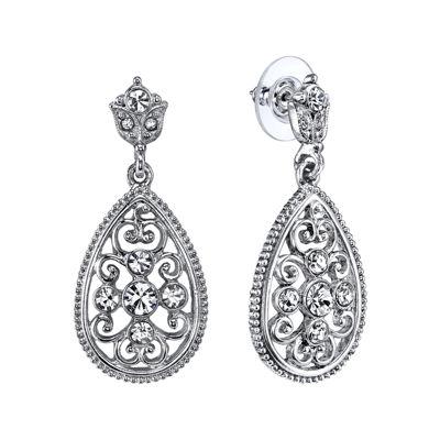 1928® Jewelry Crystal Filigree Pear Shape Drop Earrings