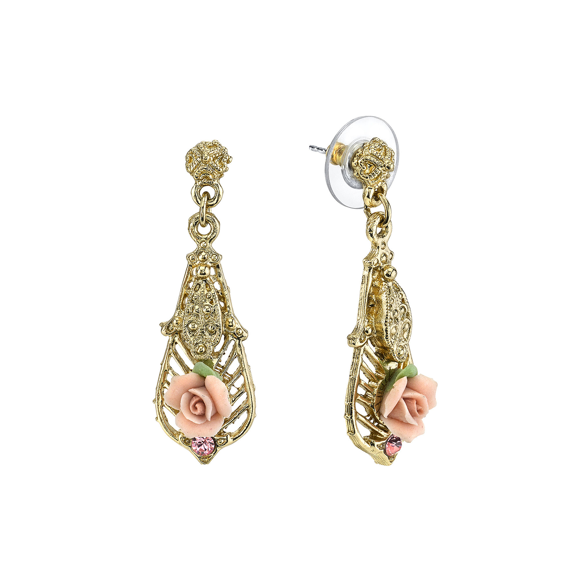 1928 Jewelry Pink Rose and Crystal Gold-Tone Drop Earrings