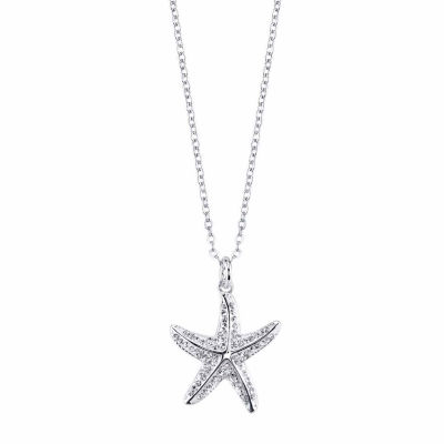 Sparkle Allure Starfish Womens Clear Pendant Necklace