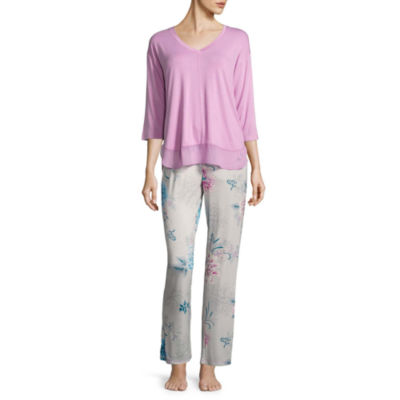 Ambrielle 3/4 Sleeve Chiffon Trim Top &Pant Pajama Set