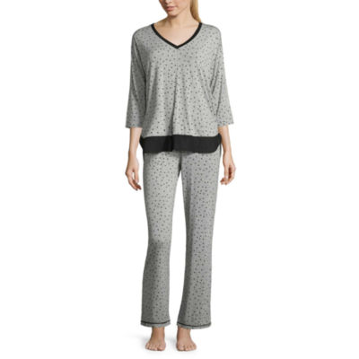 Ambrielle 3/4 Sleeve Chiffon Trim Top and Pant Pajama Set-Tall