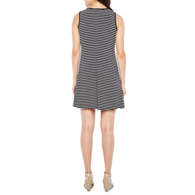 R & K Originals Sleeveless Embellished Stripe Shift Dress