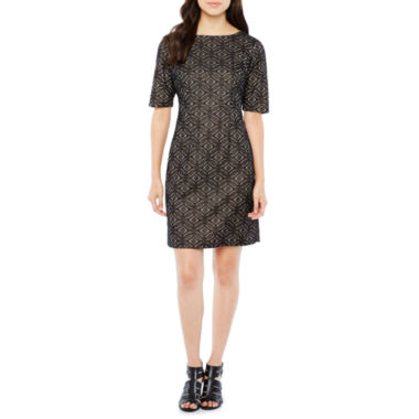 R & K Originals Elbow Sleeve Lace Shift Dress