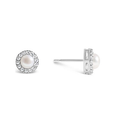Womens Freshwater Pearl & Lab-Created White Sapphire Sterling SIlver Earrings