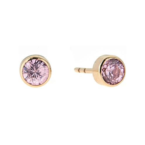 Round Pink Cubic Zirconia 14K Gold Stud Earrings