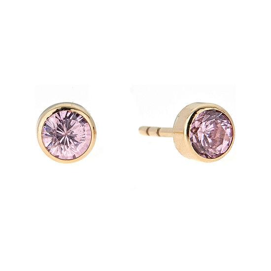 Pink Cubic Zirconia 14K Gold 4mm Stud Earrings