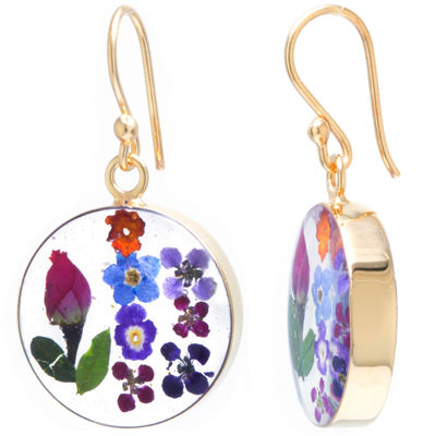 Everlasting Flower 14K Gold Over Silver Round Drop Earrings