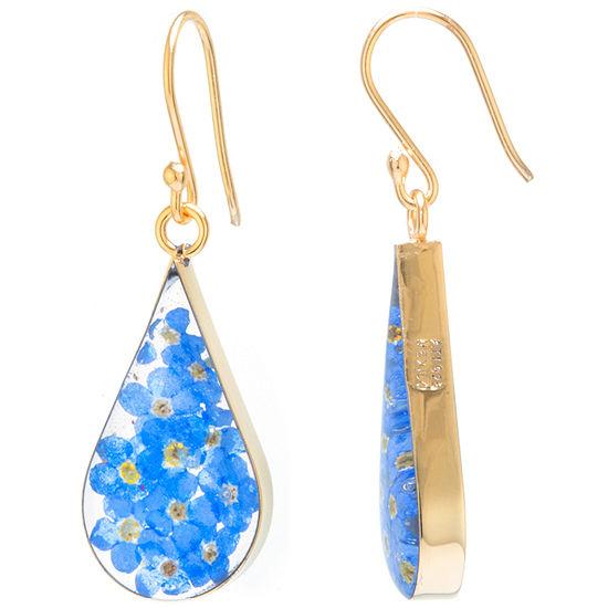 Everlasting Flower 14k Gold Over Silver Drop Earrings