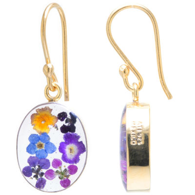 Everlasting Flower 14K Gold Over Silver Drop Earrings