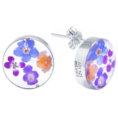 Everlasting Flower Sterling Silver 13.4mm Round Stud Earrings
