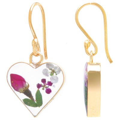 Everlasting Flower 14K Gold Over Silver Heart Drop Earrings