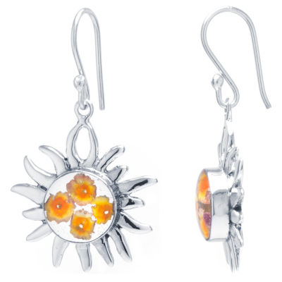 Everlasting Flower Sterling Silver Drop Earrings