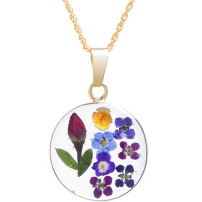 Everlasting Flower Real Pressed Flower Womens 14K Gold Over Silver Round Pendant Necklace