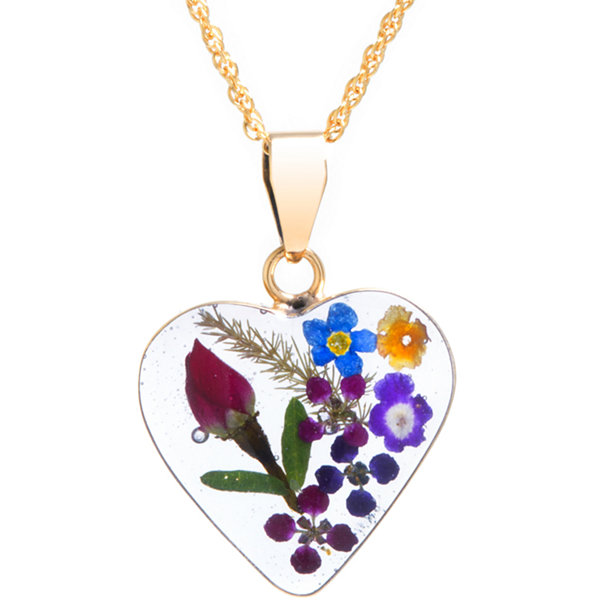 Everlasting Flower Womens 14K Gold Over Silver Pendant Necklace