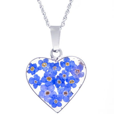 Everlasting Flower Womens Sterling Silver Heart Pendant Necklace