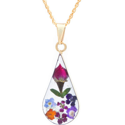 Everlasting Flower Womens 14K Gold Over Silver Pear Pendant Necklace