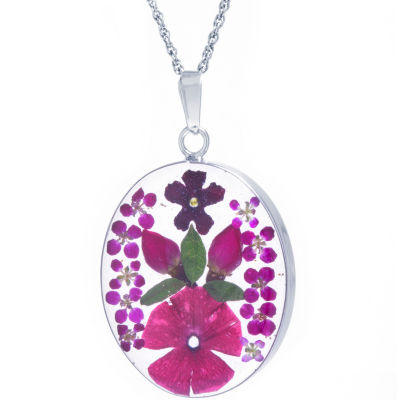 Everlasting Flower Womens Sterling Silver Oval Pendant Necklace