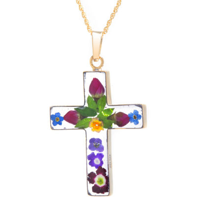 Everlasting Flower Womens 14K Gold Over Silver Cross Pendant Necklace