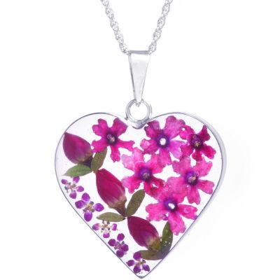 Everlasting Flower Womens Sterling Silver Heart Pendant Necklace