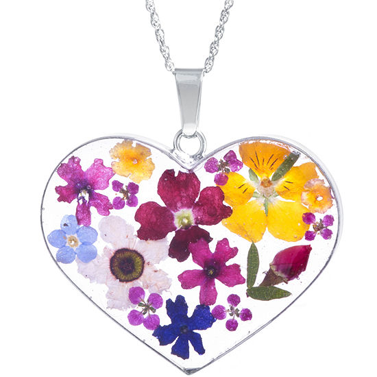 336cf1976902f Everlasting Flower Womens Sterling Silver Heart Pendant Necklace