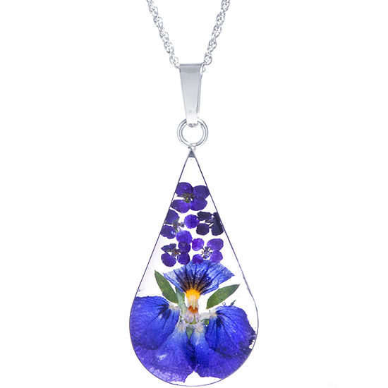 Everlasting Flower Womens Sterling Silver Pear Pendant Necklace