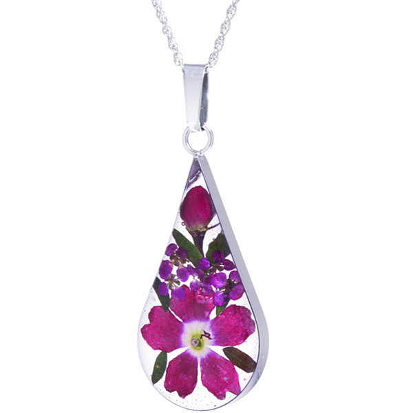 Everlasting Flower Womens Sterling Silver Pendant Necklace