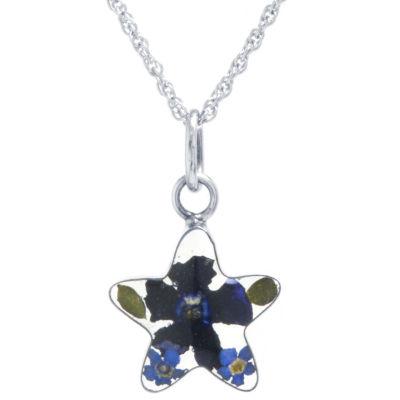 Everlasting Flower Womens Sterling Silver Star Pendant Necklace