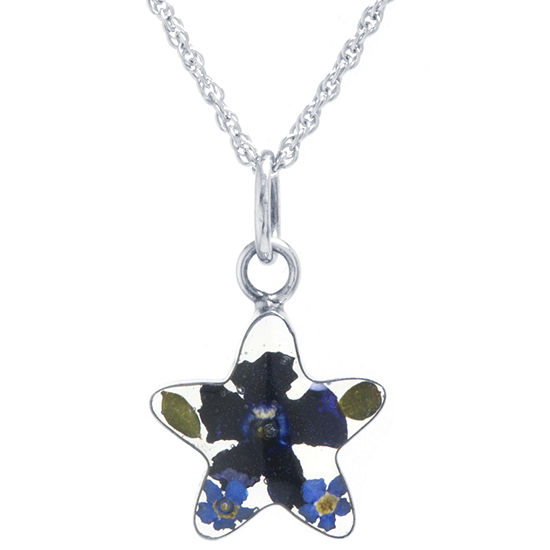 Everlasting Flower Womens Sterling Silver Star Pendant Necklace