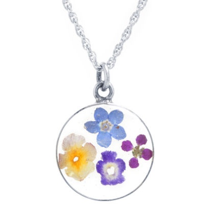 Everlasting Flower Womens Sterling Silver Round Pendant Necklace