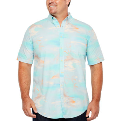 The Foundry Big & Tall Supply Co. Short Sleeve Stripe Button-Front Shirt-Big and Tall
