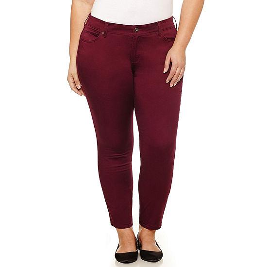 Arizona Womens Low Rise Slim Pant-Juniors Plus