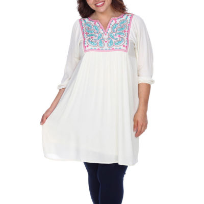 White Mark Marcella Embroidered Sheath Dress-Plus