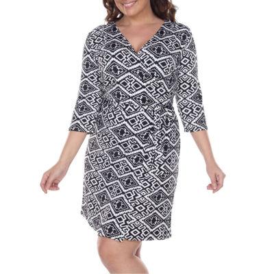 White Mark Mariah Geometric Sheath Dress-Plus