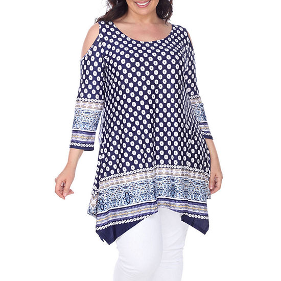 White Mark Antonia Womens 3 4 Sleeve Tunic Top Plus