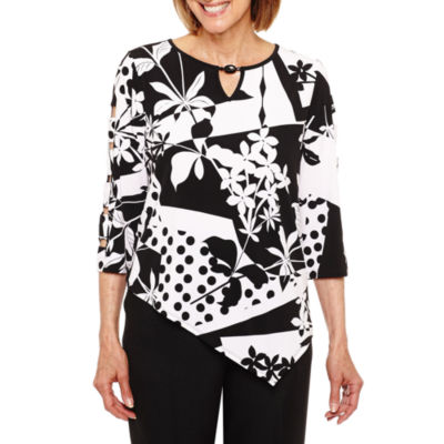 Alfred Dunner Saratoga Springs 3/4 Sleeve Layered Top Petites