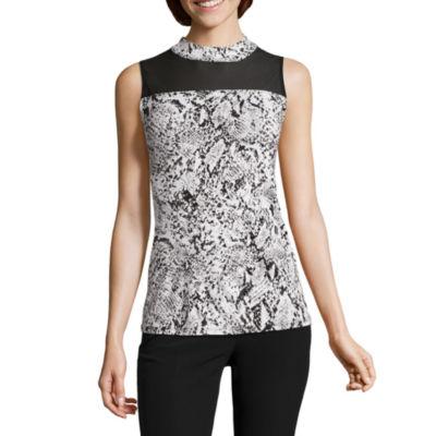 Worthington Sleeveless Mock Neck Animal T-Shirt-Womens